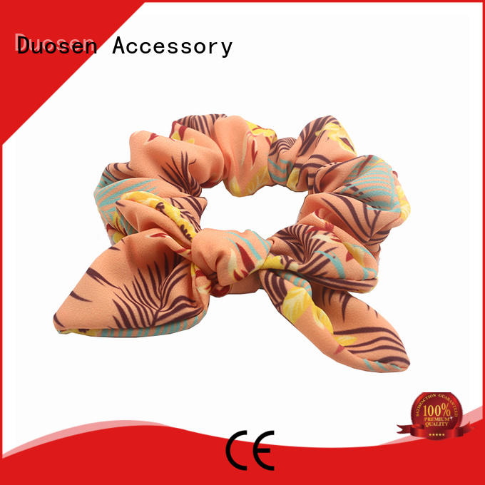Quality Duosen Accessory Brand tie bright fabric scrunchies