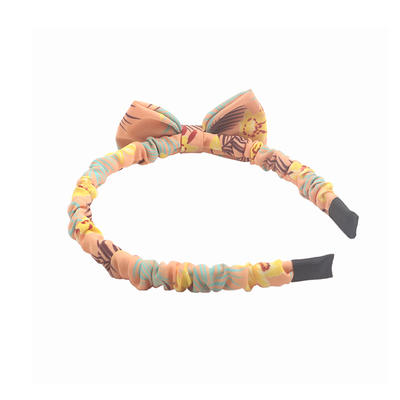 Eco-friendly recycled fabric bright color wave headband bow hairband