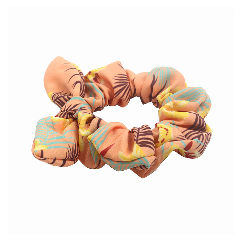 Eco-friendly recycled fabric bright color scrunch boho style hair tie