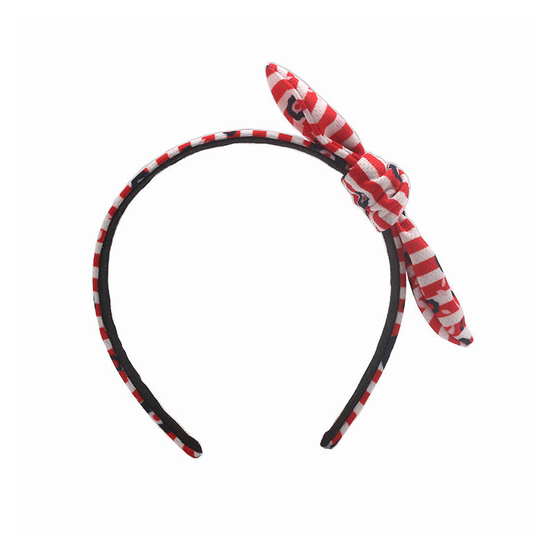Eco-friendly recycled fabric  red stripe headband bow hairband with black flower print