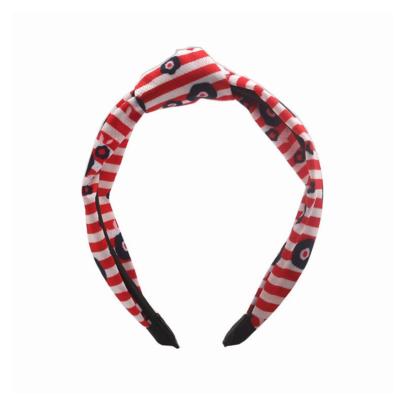 Eco-friendly recycled fabric  red stripe knotted headband with black flowers print