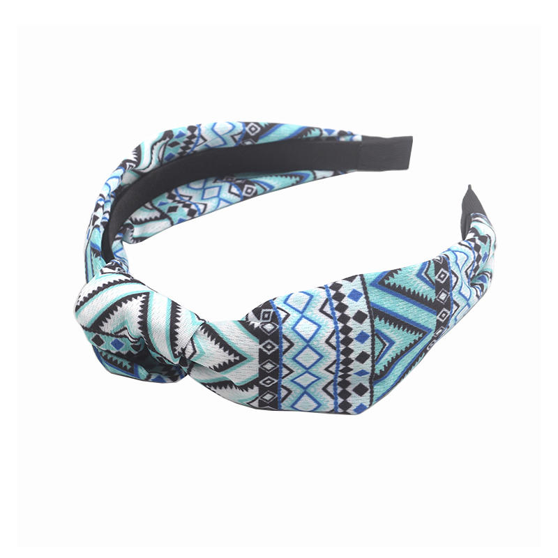 Eco-friendly recycled fabric bright color knotted headband Hawaii geometric pattern  hair accessories