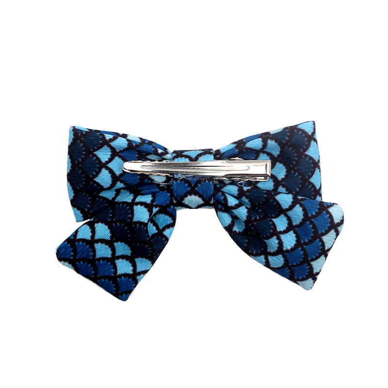 Eco-friendly recycled fabric bright color cross headband Hawaii geometric pattern soft hair clips