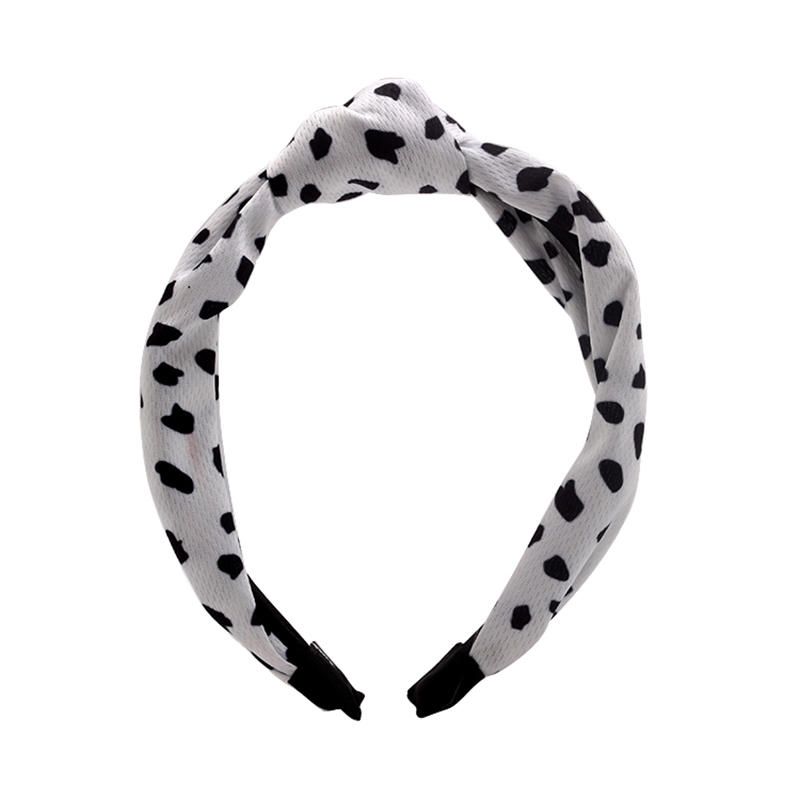 Eco-friendly recycled fabric  fresh color knotted headband covered with milk cow spot