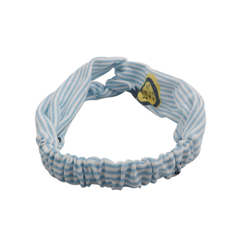 Eco- friendly organic  fabric blue striped pineapple print pattern elastic knotted headband