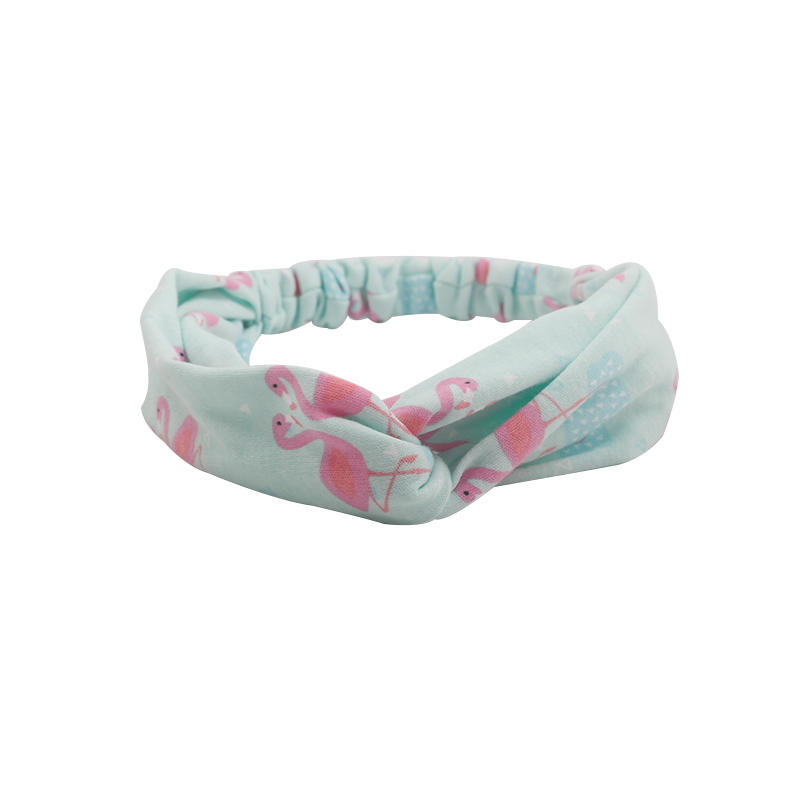 Environmentally friendly organic  fabric flamingo pattern elastic knotted headband
