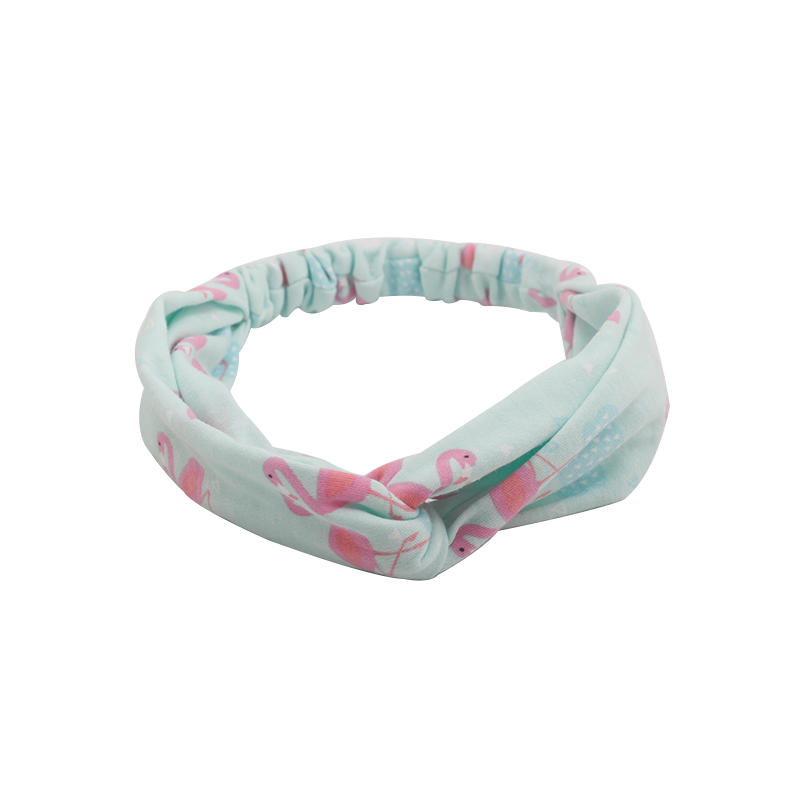 Environmentally friendly organic  fabric flamingo pattern elastic knotted headband