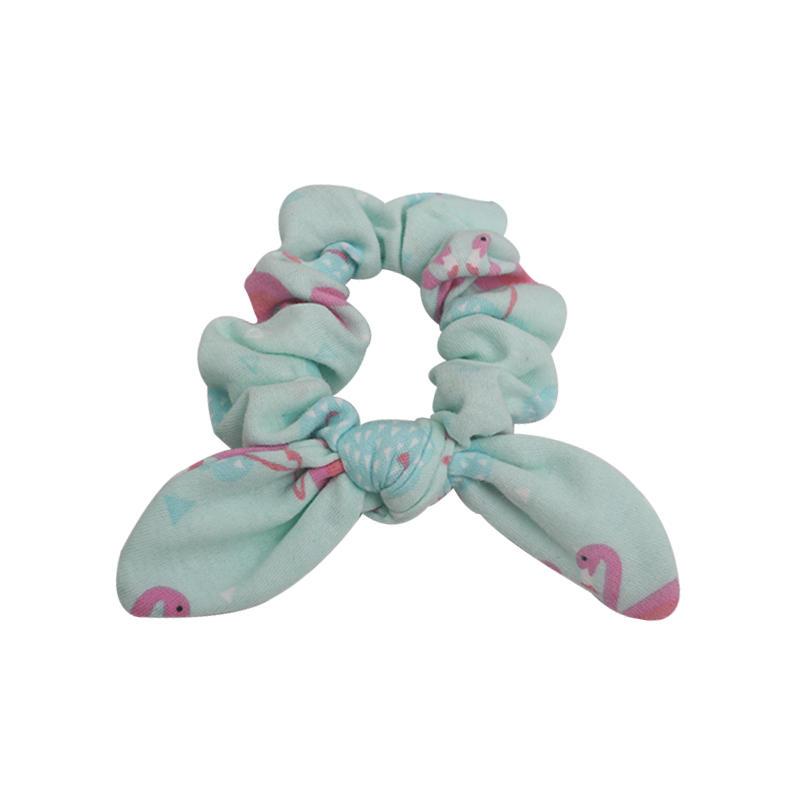 Eco-friendly organic  fabric  popular flamingo pattern scrunch urban style hair tie