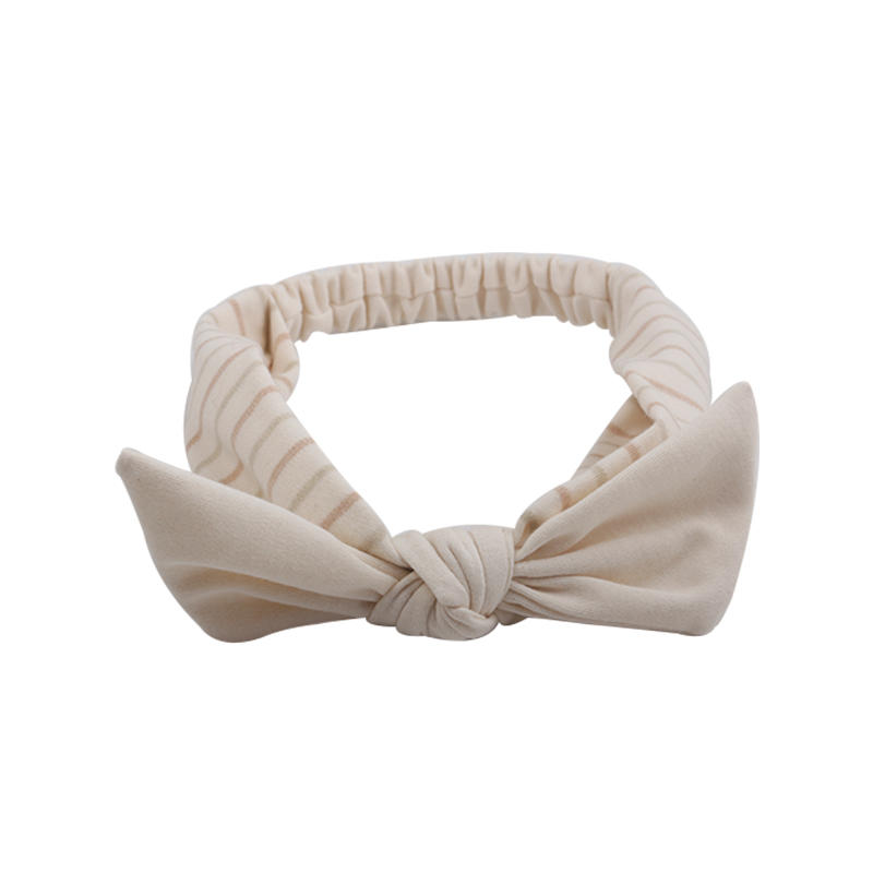 Eco- friendly organic  fabric light color striped  pattern elastic  bow headband