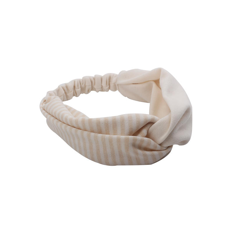 Eco- friendly organic  fabric light color striped  pattern elastic knotted headband
