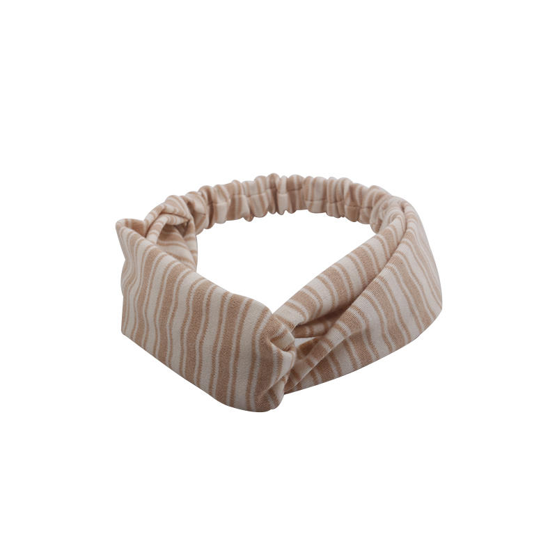 Eco- friendly organic  fabric coffee color striped  elastic  knotted headband