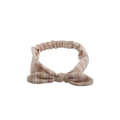 Eco- friendly organic  fabric coffee color striped  elastic  bow headband