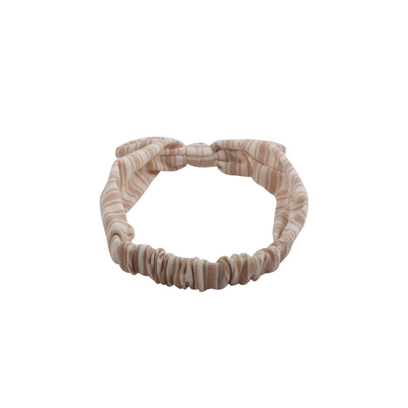 Eco- friendly organic  fabric coffee color striped  elastic  bow headband
