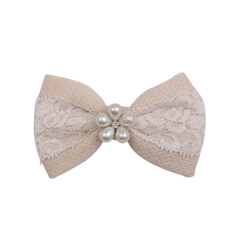 Eco- friendly organic fabric hair clip with lace and pearl for women and girls