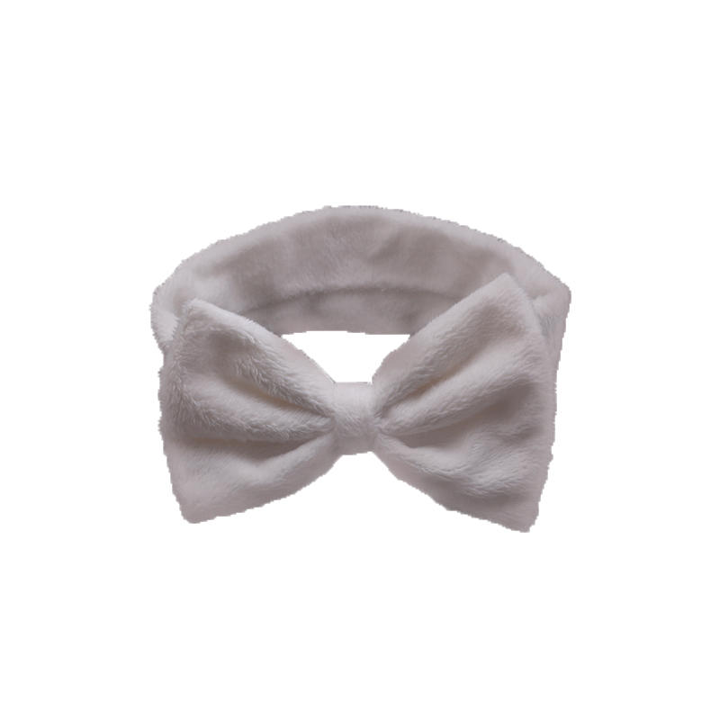 Eco- friendly organic fabric headband and hair scrunch set in white