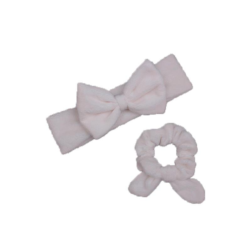 Eco- friendly organic fabric headband and hair scrunch set in white