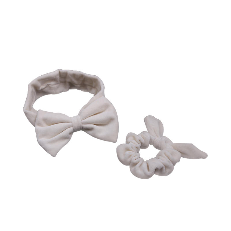 Eco- friendly organic fabric headband and hair scrunch set in light color