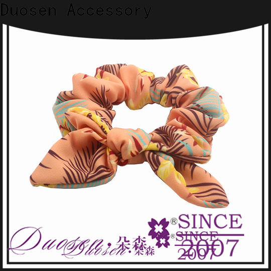 Duosen Accessory pattern bow hair scrunchie Supply for girls