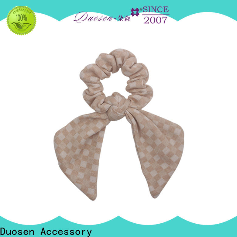 Duosen Accessory Wholesale bow hair scrunchie company for girls