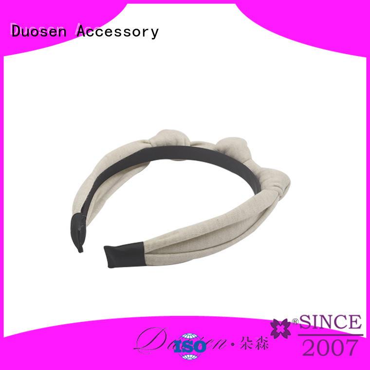 Duosen Accessory Brand knotted stripe organic material cross headband fresh supplier