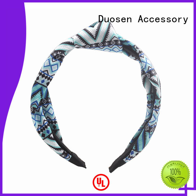 Duosen Accessory Brand cross flowers organic fabric headband two factory