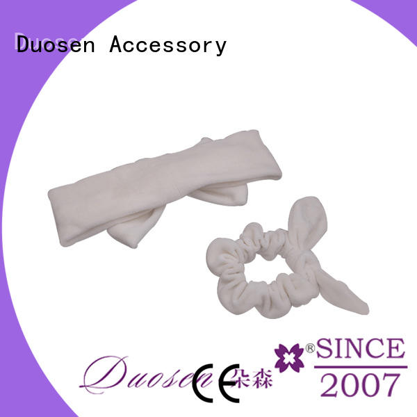Duosen Accessory color organic fabric bow headband Supply for running