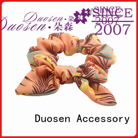 Duosen Accessory color bow hair scrunchie for business for daily life