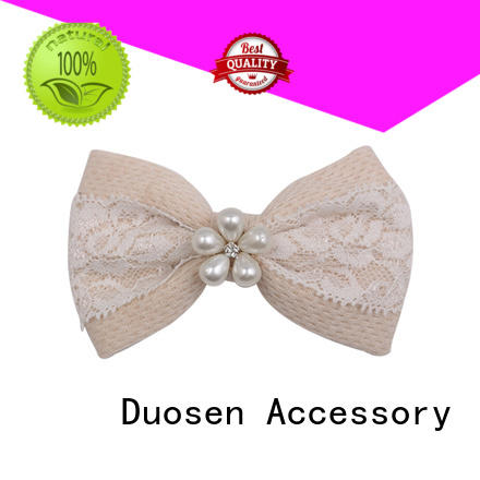 Duosen Accessory Brand pearl hawaii ecofriendly fabric bow hair clip