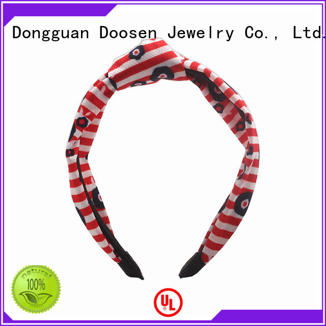 elastic cow stripe organic material cross headband Duosen Accessory Brand