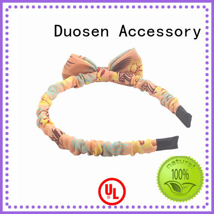 Duosen Accessory Brand eco bow stripe custom organic material cross headband