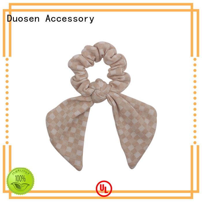 Duosen Accessory fabric bow hair scrunchie factory for girls