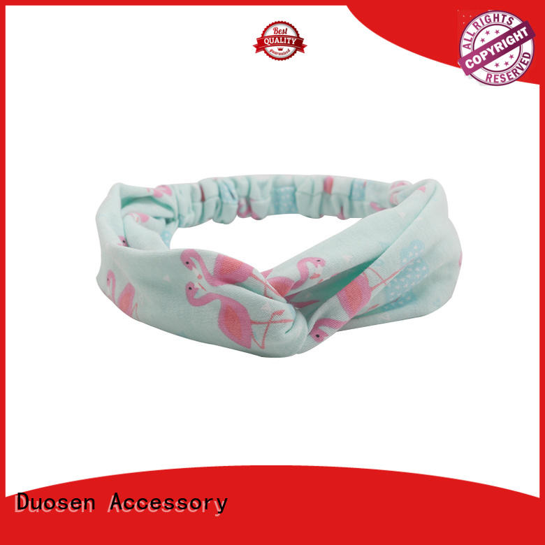 Duosen Accessory Brand flamingo organic fabric headband cow factory