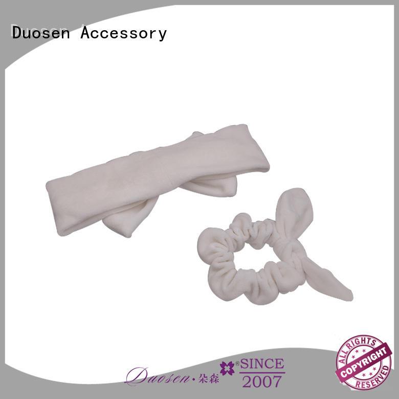 Duosen Accessory striped organic fabric bow headband company for sports