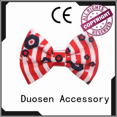 pearl Custom bright geometric fabric bow hair clip Duosen Accessory organic